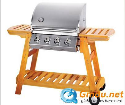 4Main Burner Wooden Gas Grill BBQ