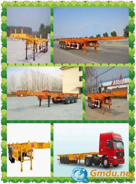 skeletal container semi railer