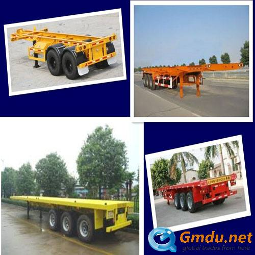 Flat bed container semi trailer