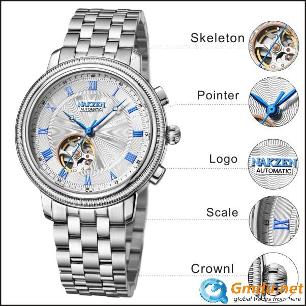 Skeleton giant pointer sapphire crystal luxury automatic mechanical couple watches