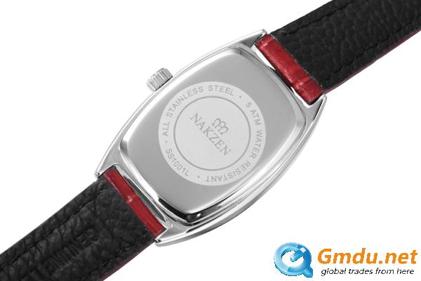 Young Girls Fashion Red Leather Strap Designed Square Case Watches