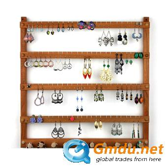Wooden earings display stand
