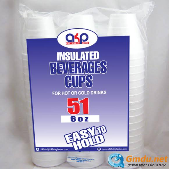 6oz Foam Cups Made of Expandable Polystyrene