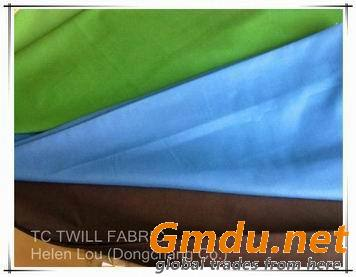 White,dyed T/C twill fabric