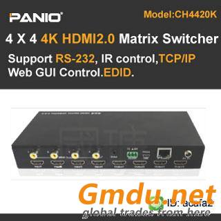 4 X 4 HDMI2.0 4K Matrix Switcher with Audio,RS232, LAN, EDID