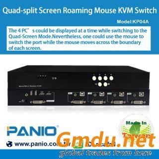 Quad-split Screen Roaming Mouse KVM Switch