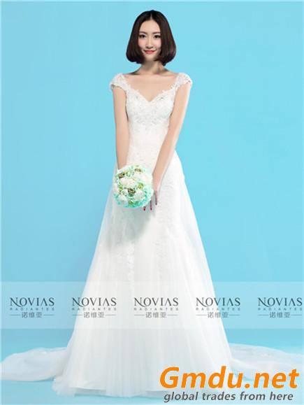 Sleeveless V-Neckline Lace Sheath Wedding Gown