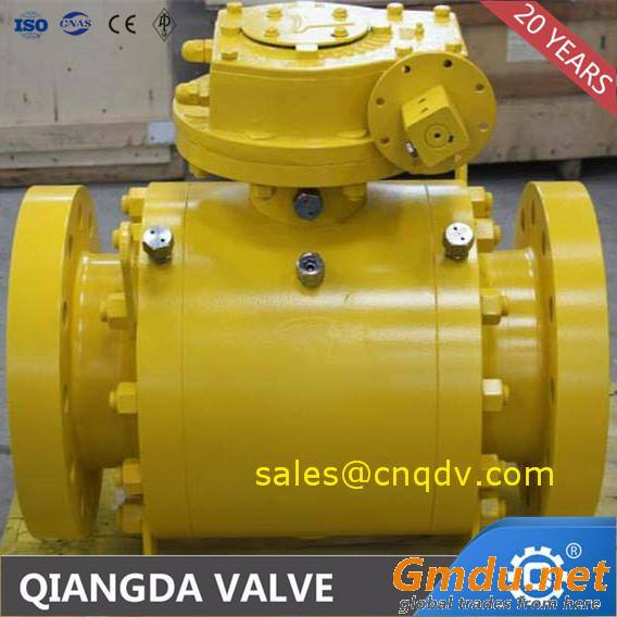 API 6D flange turnnion mounted ball valve forged
