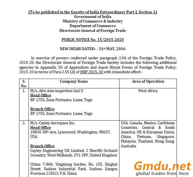 Pre Shipment Inspection Certificate