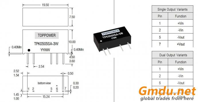 isolated 2W DC/DC converters TPK