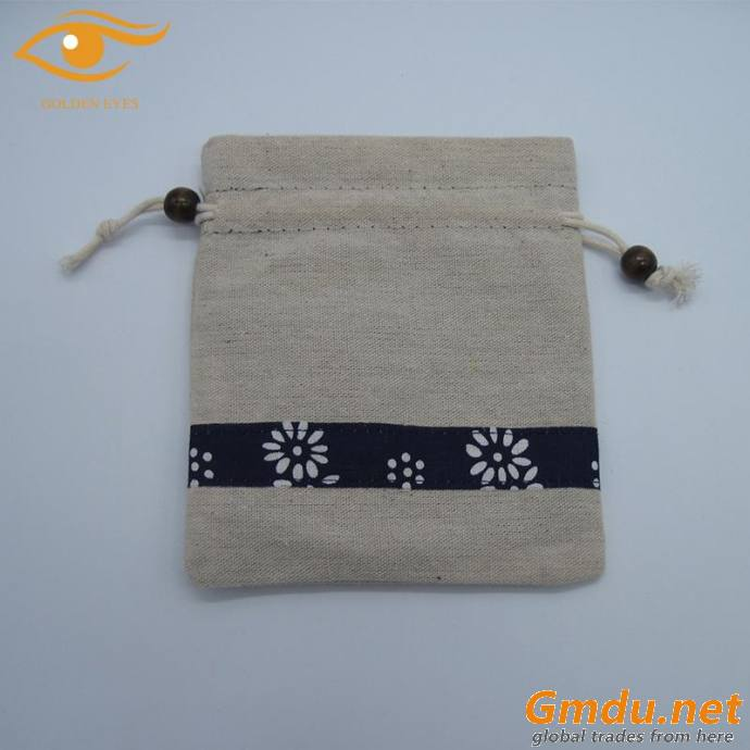 cotton drawstring bag with linen