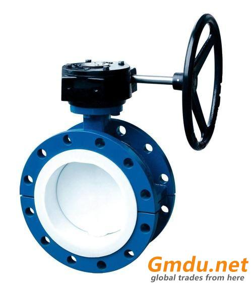 Flanged FEP / PTFE/ PFA Lined Butterfly Valve