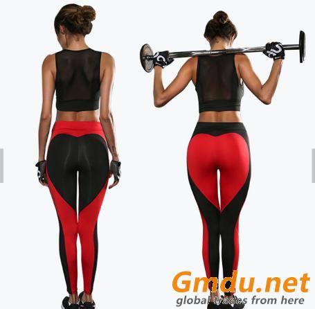 women fitness high waisted workout heart leggings