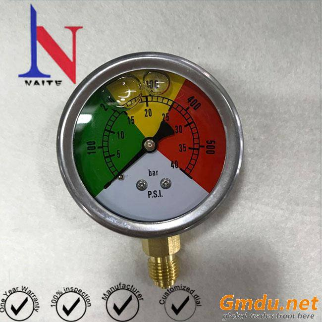 63mm Dial Face Bottom Mounting Glycerin Preessure Gauge