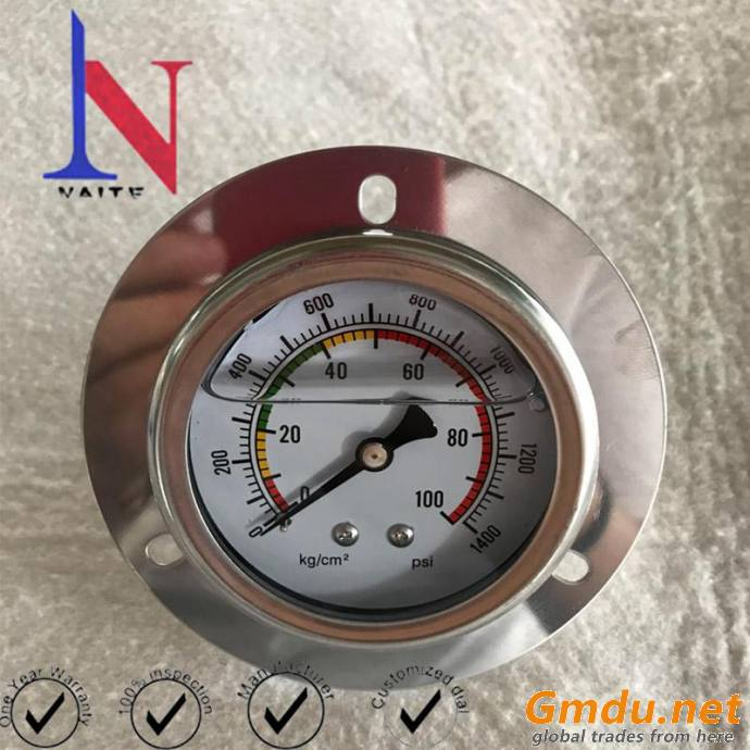 Liquid Filled Brass Connector Pressure Gauge with Front Flange