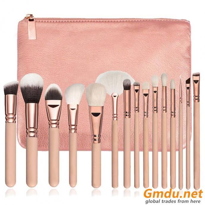15pcs Professional Portable Makeup Brush Set-Gold Black Pink