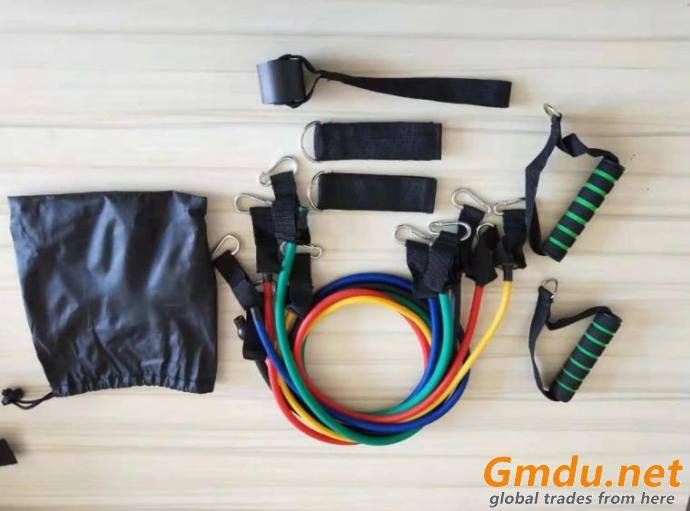 11 Pieces Fitness Latex Resistance Tube Bands Set