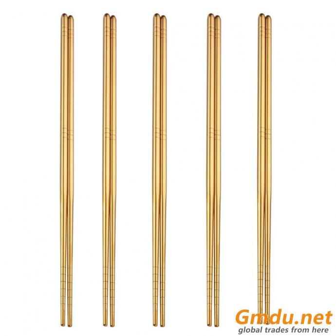 Titanium Gold 304 chopsticks Stainless Steel metal Chopsticks Metal Chopsticks