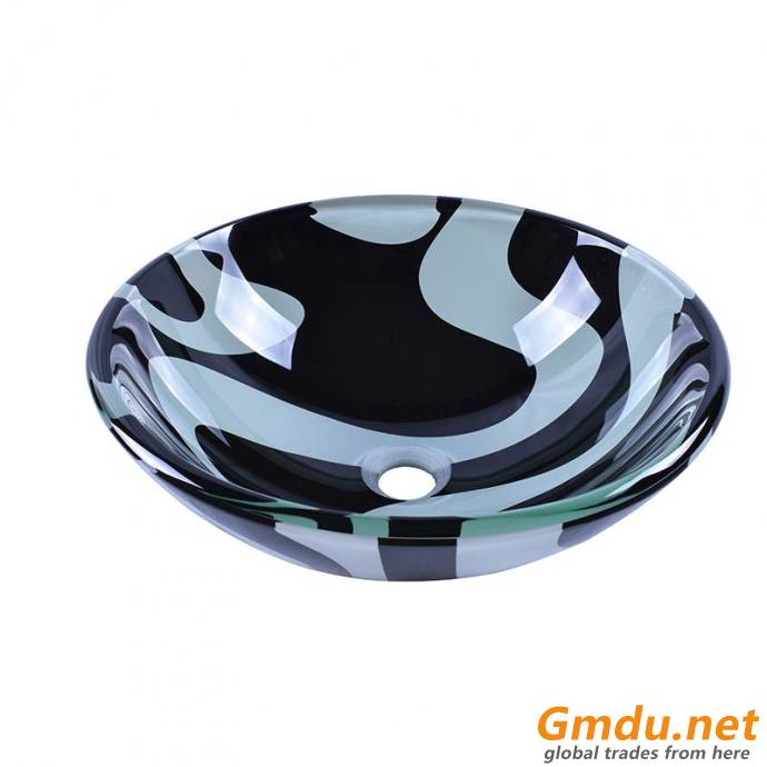 Double Temper Round Glass Vessel Basin With Black And White Flower Pattern Design