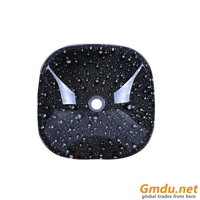 Square Shape Black Water Drop Pattern Design Temper Glass Vessel Basin