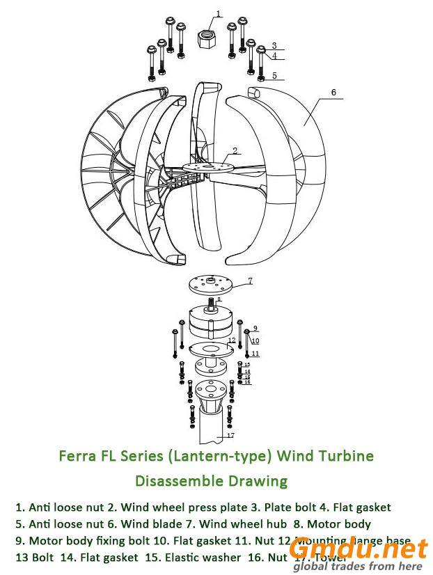 FL-100W Vertical Axis Wind Turbine Generator (Lantern Type)