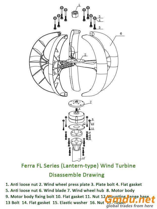 FL-200W Vertical Axis Wind Turbine Generator Sysetm(Lantern Type )