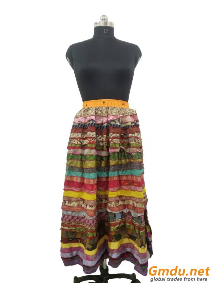 SILK PATCH WORK SKIRT