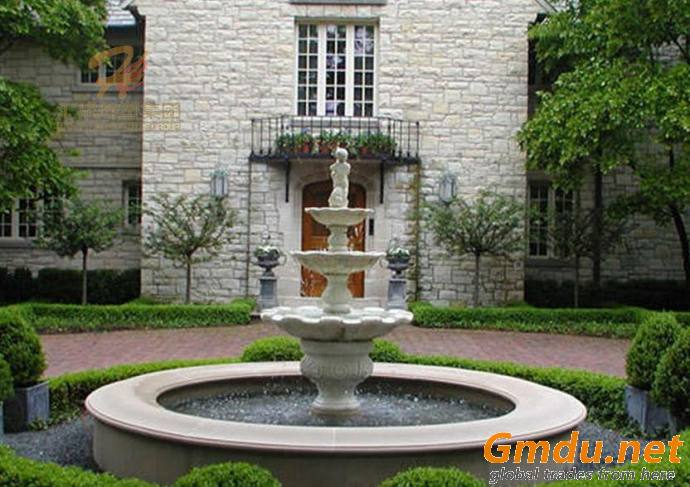Outdoor Large White Stone Carving Marble 3 Tiers Waterfall