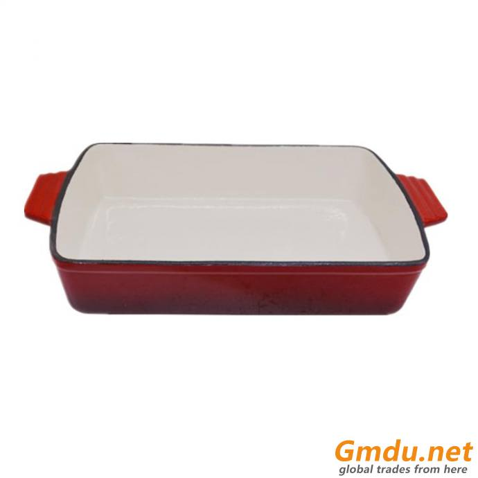 "12"" Rectangular Cookware Non Stick Enamel Cast Iron Baking Pans With Dual Handles"