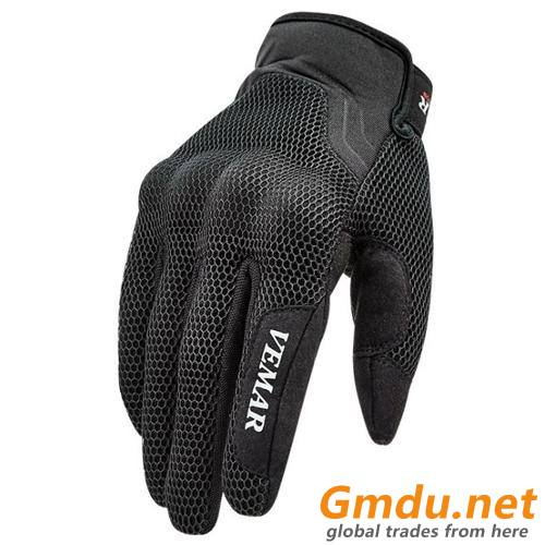 Men's Breathable Black Motorcycle Riding Gloves(042)