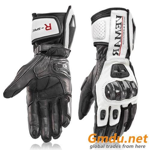 Full Leather gauntlet motorbike glove(047)