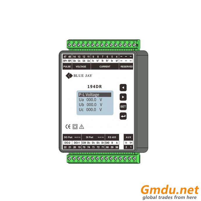 194DR 3P3W or 3P4W 35mm Din-rail Multifunction Power Monitor