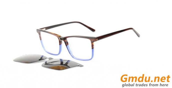 Acetate clips on sunglasses