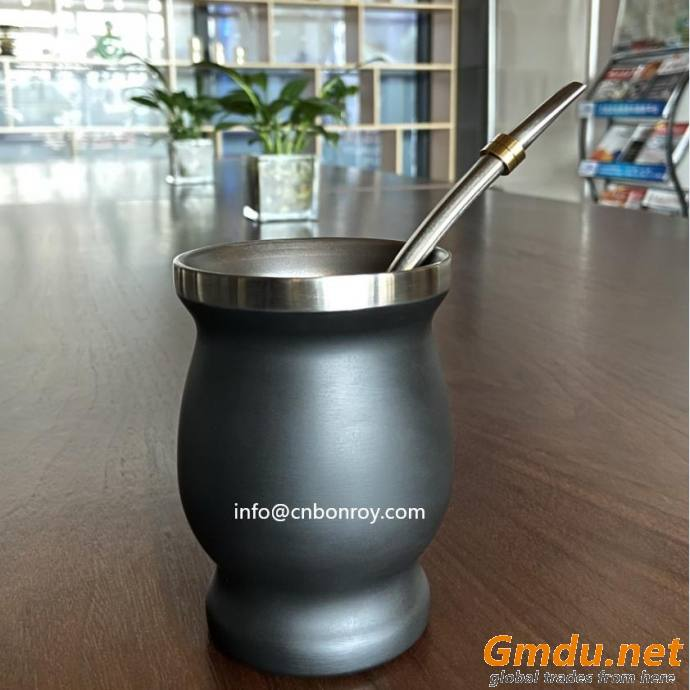 Yerba Mate Gourd/Cup with Straw Bombilla and Cleaning Brush