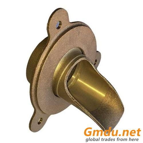 Nickel Bronze Downspout Nozzle and Flange with No-Hub and Thread Outlet for Roof Drainage