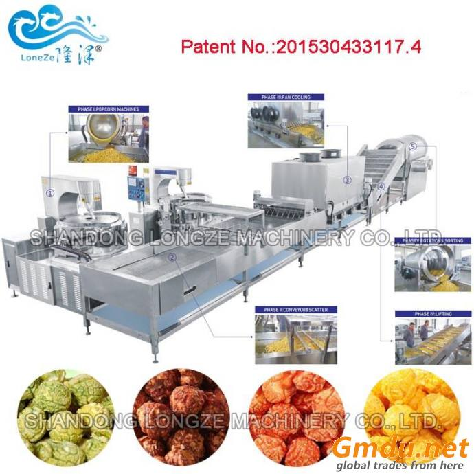 Automatic Commercial Gas Heating Popcorn Machine Production