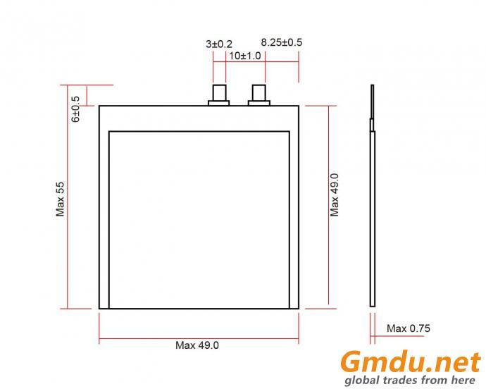 Grepow 140mAh 3.8V Rectangle Shaped Thin Lipo Battery 0849049