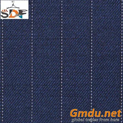 Poly Viscose Wool Striped Suit Fabric / Pinstripe Suit Fabric