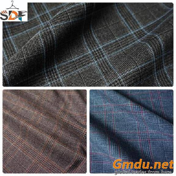 Polyester Viscose Spandex Suit Check Fabric