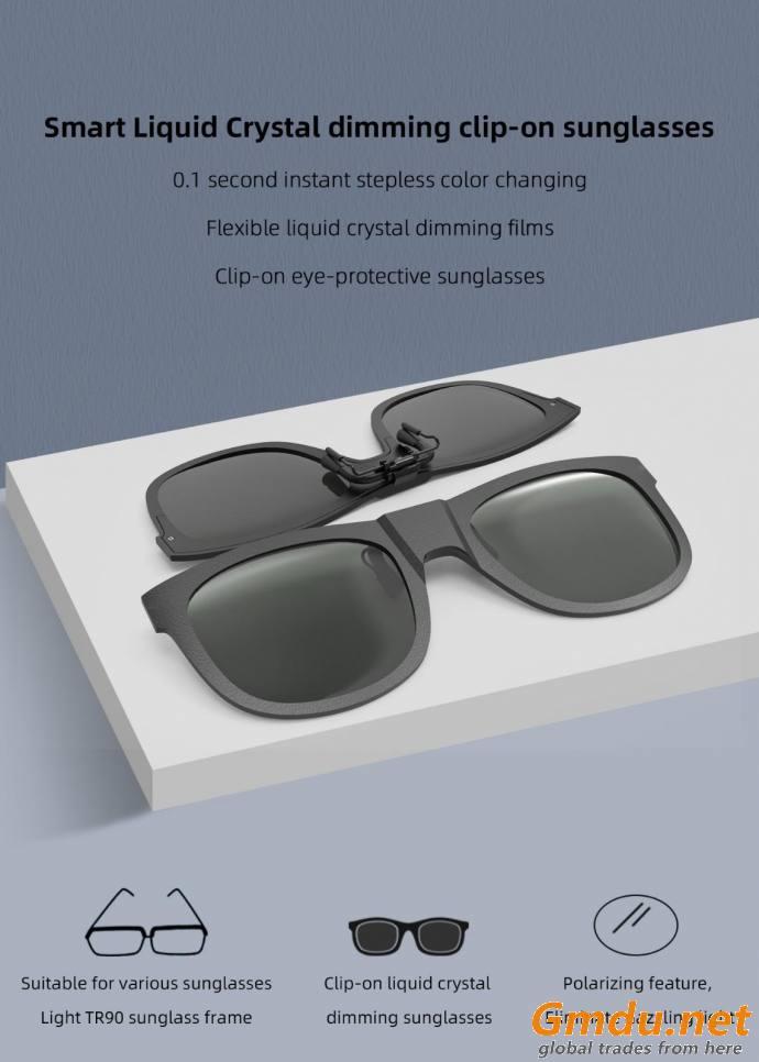 Smart adjustable clip color changing sunglasses