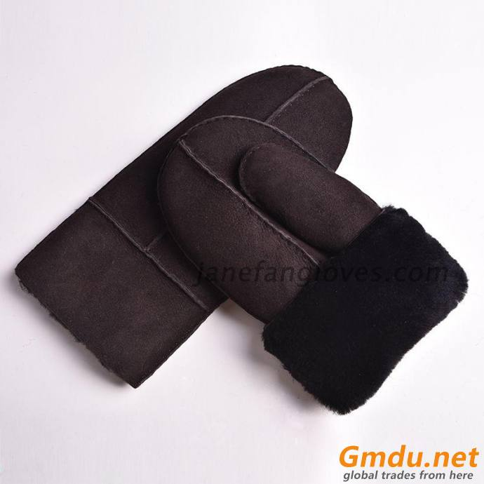 winter outdoor men sheepskin double face curly hair shearling snow mittens