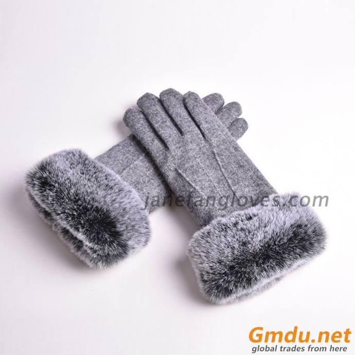 women fashion winter 80% wool 20% acrylic gloves with fur trim