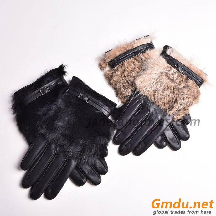 Women's 100% real sheepskin leather gloves lady winter warm fashion gloves with real rabbit Fur