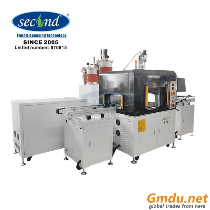 two component inline vacuum potting machine