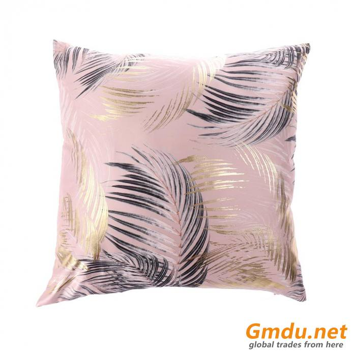 Leaves Patterned Foil Print Decor Cushion