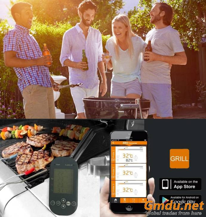 Bluetooth & Fast Digital Meat Thermometer for Smoker, Griller, BBQ