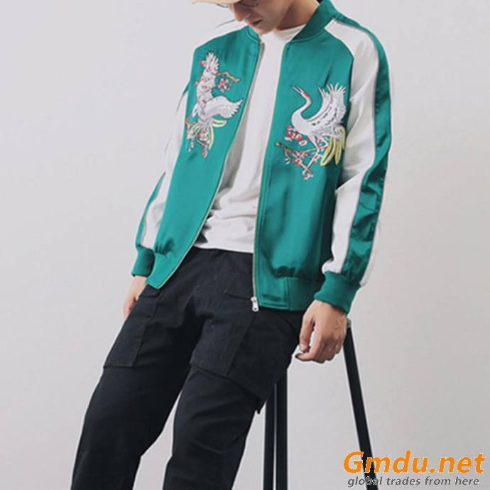 Custom Logo Embroidered Bomber Jacket Men