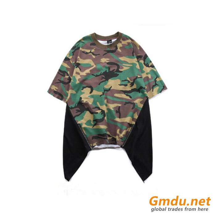 Custom Cotton Camo T-Shirts Printed Color Block Oversized Street wear
