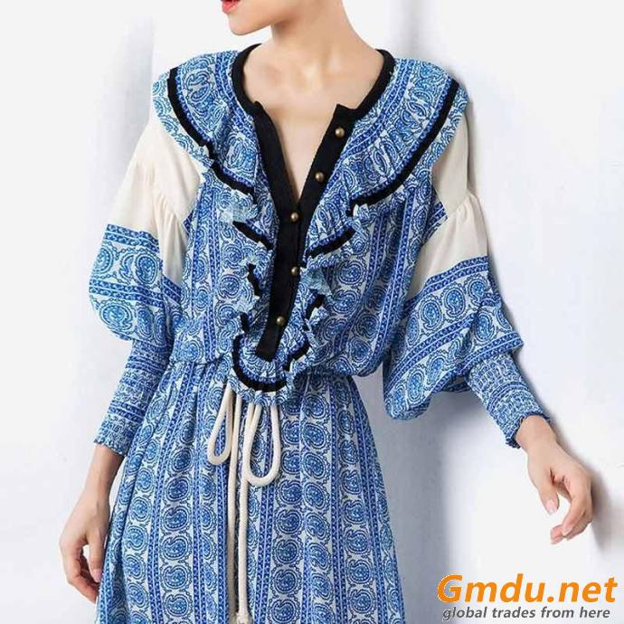 Fashion Vintage Print Summer Dress Women Lantern Sleeve High Waist Drawstring Dress