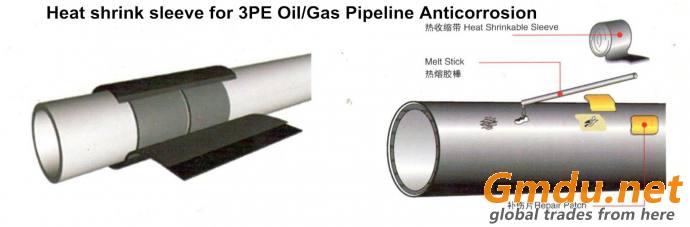 underground burried field joint coating PE radiation cross linked heat shrink sleeve